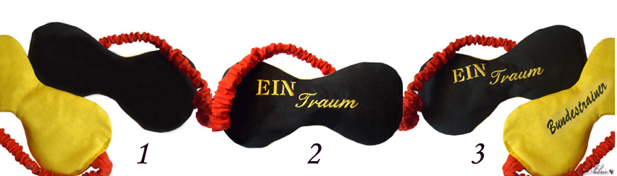 Art-Fabric Schlafmasken Schwarz- Rot-Gold